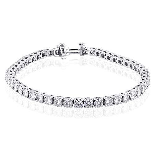 (10k White Gold Round Moissanite Tennis Bracelet 7 3/4)