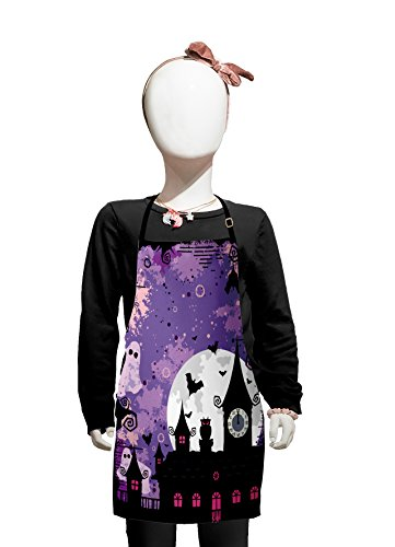 Lunarable Vintage Halloween Kids Apron, Halloween Midnight Image