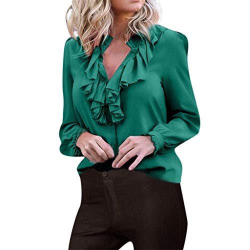 Tantisy ♣↭♣ Women Ladies Summer Chiffon Long Sleeve V-Neck Casual Shirt Tops Blouse T-Shirt Tees/Plus Size S-XXXXXL Green