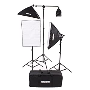 "Fovitec StudioPRO Photography Photo Video Studio Continuous Two 5 Socket Heads 24""x36"" Softbox With One EZ Setup 20""x28"" Soft box Boom Arm 2500 Watt Lighting Kit"