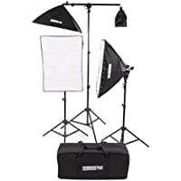 Fovitec StudioPRO Photography Photo Video Studio Continuous Two 5 Socket Heads 24x36 Softbox With One EZ Setup 20x28 Soft box Boom Arm 2500 Watt Lighting Kit