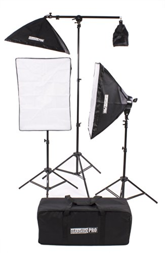 Fovitec StudioPRO Photography Photo Video Studio Continuous Two 5 Socket Heads 24''x36'' Softbox With One EZ Setup 20''x28'' Soft box Boom Arm 2500 Watt Lighting Kit by Fovitec