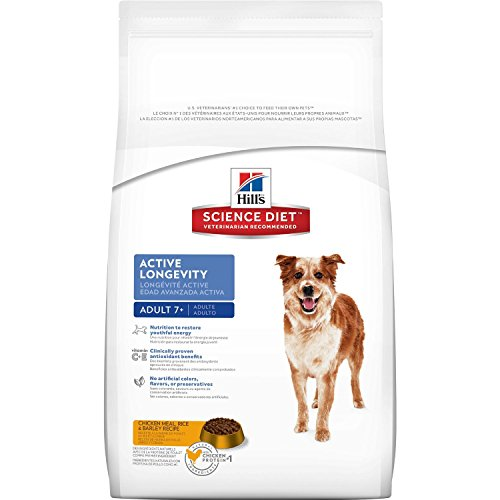 Hill's Science Diet Senior Dog Food, Adult 7+ Active Longevity Chicken Meal Rice & Barley Recipe Dry Dog Food, 33 lb Bag