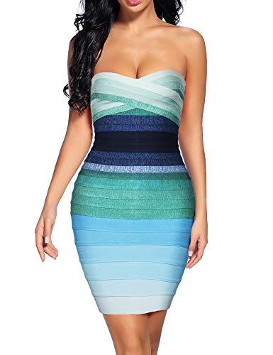 Madam Uniq Women's Sexy Strapless Rayon Bodycon Party Bandage Mini Dress (Blue2, M)