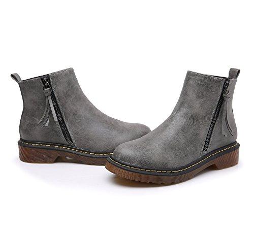 Smilun Damen Chelsea Stiefel Kurzschaft Stiefel Reißverschluss Stiefelette Grau