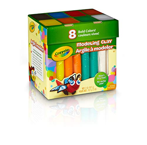Crayola Modeling Clay in Bold Colors, 2lbs, Gift for Kids, Ages 4 & Up & Model Magic, Deluxe Craft Pack, Gift, 14 Single Packs, at Home Crafts for Kids