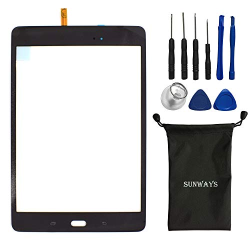 sunways Black Touch Flex Cable Screen Glass Lens Repaire Parts for Samsung Galaxy Tab A 8.0 T350 SM-T350 with Device Opening Tools