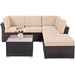 Garden and Outdoor SUNCROWN Outdoor Sofa 4-Piece Patio Furniture Set, Checkered Wicker and Glass Coffee Table, Brown Washable Cushion and… patio furniture sets