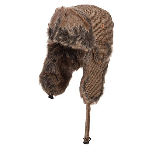Plaid Faux Fur Winter Trooper Hat - Brown XL