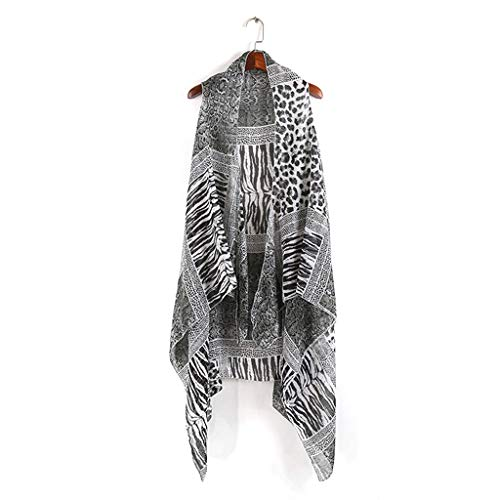 (Ladaidra Women Chiffon Vest Style Shawl Leopard Zebra-Stripes Patchwork Printing Skirt Asymmetric Swimsuit Cover Up)