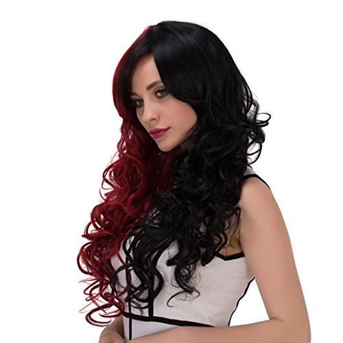 Alacos Gothic Lolita Harajuku Red Ombre Black Synthetic Long Curly Halloween Anime Cosplay Costumes Wigs with Bangs for Women + Free Wig Cap -