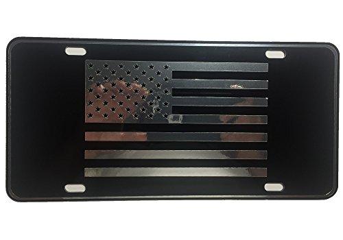 CustoMonsterDesigns US Flag License Plate American Flag License Plate Chrome Mirror Silver on Black Mirror License Plate (Flag Patriotic License Plate)