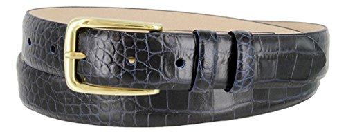 Skinny Calf Belt Leather (Hagora Women Real Calfskin Leather Alligator Lizard Smooth Texture Buckle Belt ,Alligator Navy 32)