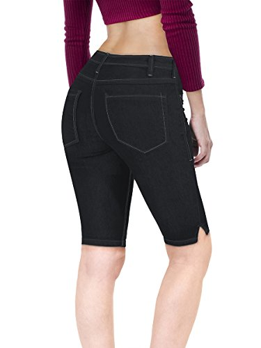 HyBrid & Company Women's Stretchy Denim Bermuda Short B22885 Blue Black 15 ()