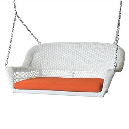 Amazon Com Jeco Inc White Resin Wicker Porch Swing With Orange