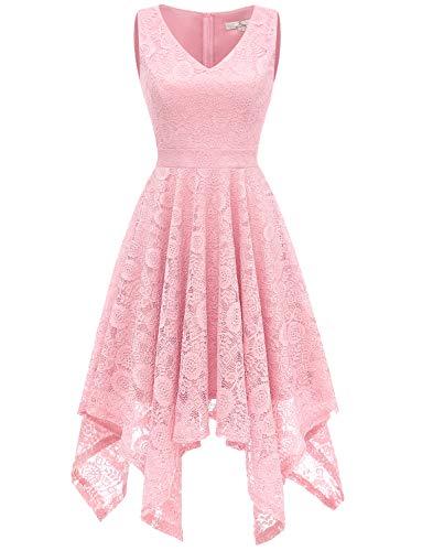 Dress Formal V Handkerchief Womens Hem Pink Neck Floral Dress Swing