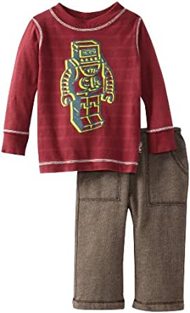 Charlie Rocket Baby Boys' Fleece Pant And Tee, Brown/Cranberry, 18 24 Months