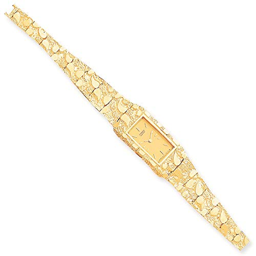 10K Yellow Gold Champagne 15x31 MM Dial Rectangular Face Nugget Watch, 7