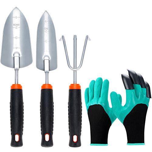 Garden Tool Set,4 Pack Heavy Duty Steel Gardening Kit-Trowel, Transplant Trowel,Cultivator Hand Rake with Soft Rubber…