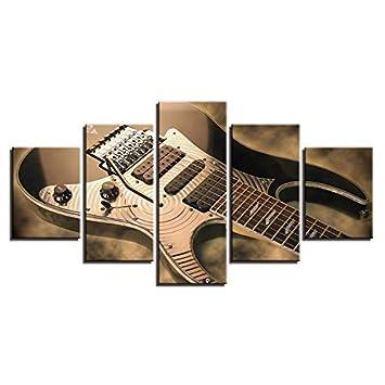 YCOLLC Lienzo Pintura Wall Art HD Prints Marco 5 Unidades Guitarra ...
