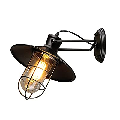 Perfectshow Minimalist Loft Black Industrial Adjustable Wall Sconces with Glass Shade Ceiling Lightings