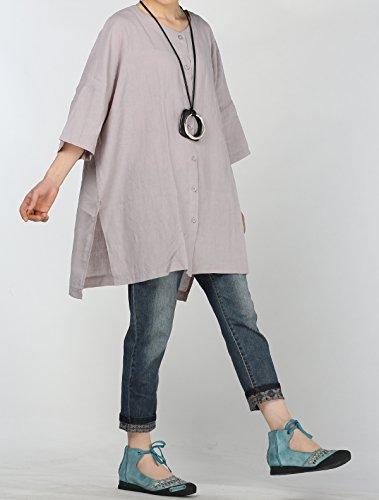 Vogstyle Mujer Lino Manga de llamarada Tops Blusa Camisa suelta LH004 Gris