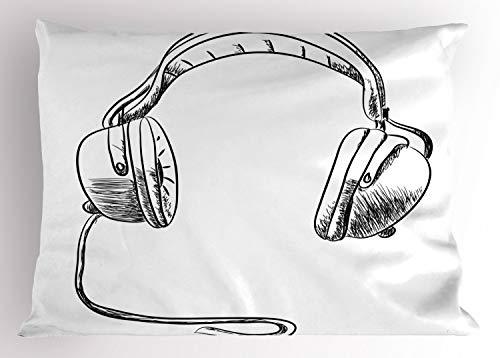 (Ambesonne Music Pillow Sham, Sketch Style Hand Drawn DJ Headphones Rhythm Radio Modern Hippie Art Illustration, Decorative Standard King Size Printed Pillowcase, 36 X 20 inches, Black White)