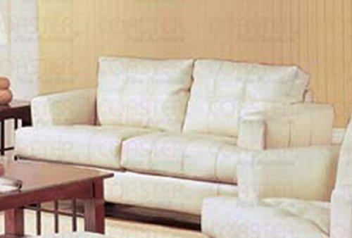 Cream Classic Leather Loveseat