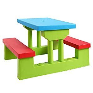 4 Seat Kids Picnic Table w/Umbrella Garden Yard Folding Children Bench Outdoor New Colorful