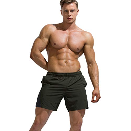 KASAAS Beach Trunks for Men, Elastic Pockets Thin Light Quick Dry Workout Sport Training Surfing Shorts Pants(M,Army Green) -