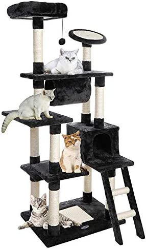 ZENY 61 Cat Tree with Sisal Scratching Posts Perches Houses and Tunnel, Cat Tower Furniture Kitty Activity Center Kitten Play House