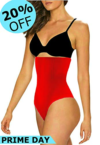 ShaperQueen 102 Best Womens Waist Cincher Body Shaper Trimmer Trainer Slimmer Girdle Faja Bodysuit Short Slip Tummy Belly Weighloss Control Brief Corset Plus Size Underwear Shapewear Thong (L, Red)