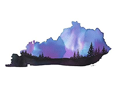Kentucky State Watercolor by Jessica Durrant Contemporary Maps Print Poster (Choose Size)