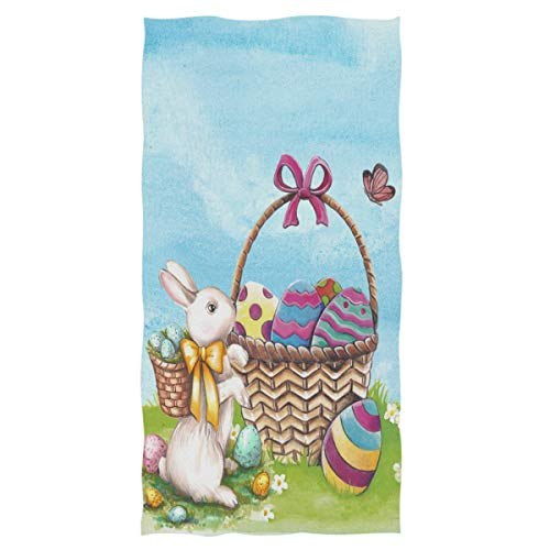 (Wamika Happy Easter Eggs Basket Bunny Hand Towels Flowers Butterfly Ultra Soft Bath Towel Highly Absorbent Multipurpose Bathroom Towel for Hand,Face,Gym and Spa Holiday Decor,16x30 in)