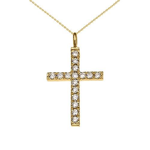 Elegant Diamond Cross Pendant - 10k Yellow Gold Elegant Diamond Cross Pendant Necklace, 20
