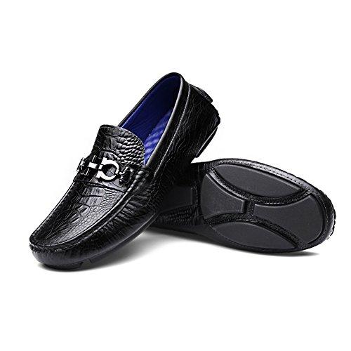 Shenn Hombre Conduciendo Un Auto Plano Sin Cordones Lujo Grano Lleno Cuero Mocasines Zapatos Negro