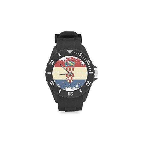 Reloj de pulsera de diseño vintage con bandera de Croacia roja y blanca, correa de goma, reloj de pulsera casual Anolog de cuarzo: Amazon.es: Relojes