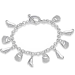 """Fashion Statement""Lovely High-heeled Shoes & Handbags Ornament Silver Plated Chain Bracelet"