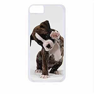 Puppy Waving- Case for the Apple Iphone 4/4s-Hard White Plastic Outer Shell with Inner Soft Black Rubber Lining