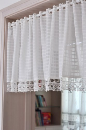 DIAIDI Classic White Square Lattice Curtain, Coffee Curtain Shade, Half Curtain, Small Short Lace Curtain,Modern Curtain Design for Living Room, Bedroom, Water Soluble Lace Curtain