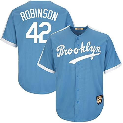 (VF LSG Mens #42 Jackie Robinson Brooklyn Dodgers Big & Tall Cooperstown Collection Cool Base Player Jersey - Light Blue M)