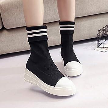 HOESCZS Los Zapatos De Mujer Pueden Ser Una Sola Bota En El Tubo Calcetines Botas Botas