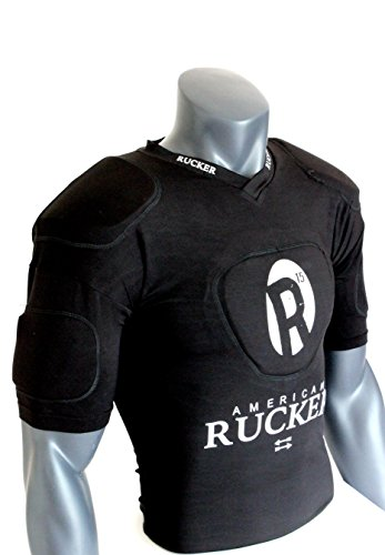 American Rucker Rugby Protective Vest - ALL BLACK WARRIOR War Gear - Compression Vest - Polyester - Padded Shoulder - Chest - Bicep - Men - Women