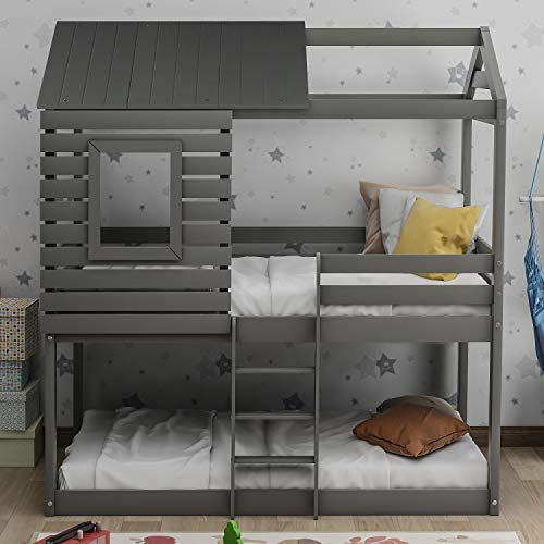 Danxee Low Bunk Beds Twin Over Twin Size