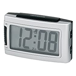 Impecca 1.3-Inch LCD Display Battery Alarm Clock with Snooze and Backlight, Large, Metallic Silver