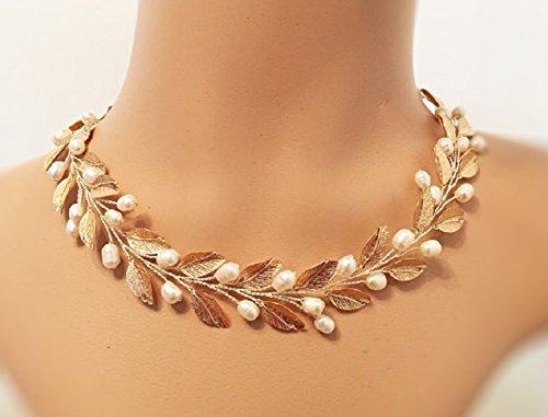 Amazon Com Gold Wedding Necklace Statement Bridal Jewelry Handmade