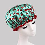 Fashion Design Stylish High Quality Reusable Shower cap with Beautiful pattern and color (Green(Cherry))