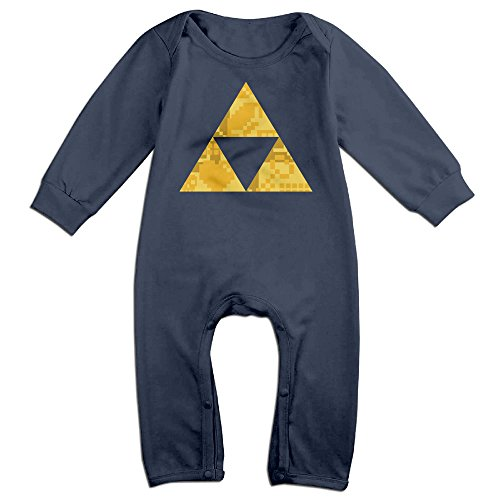 NOXIDN SMWI Baby Infant Romper Zelda Triforce Items Boys Long Sleeve Jumpsuit Costume,Navy 12 Months