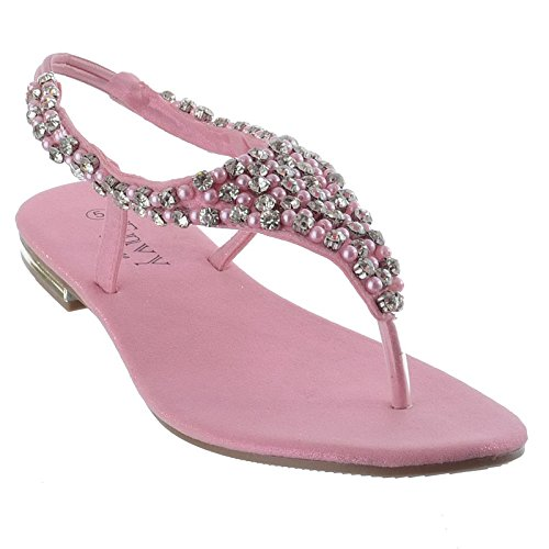LADIES FLAT DIAMANTE TOE POST SLINGBACK WOMENS PEARL DRESSY PARTY EVENING SANDALS SHOES SIZE Pink od9wBJdp