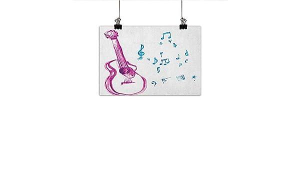 Guitarra Decoración de Pared Póster Pintura Sketch Arte Estilo ...